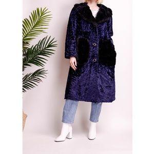 Vintage 80s black + blue longline fur duster coat